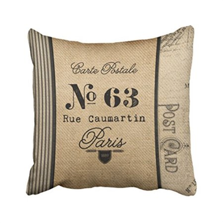Musesh Burlap Vintage Postage French Country Quote Cushions Case Throw Pillow Cover For Sofa Home Decorative Pillowslip Gift Ide