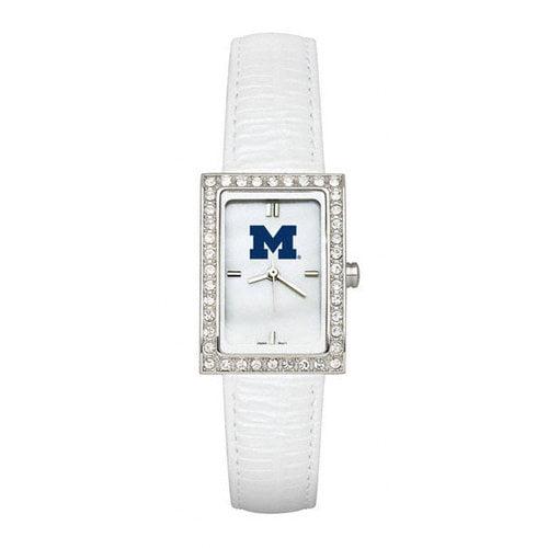 NCAA - Michigan Wolverines Ladies Allure Watch White Leather Strap