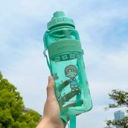 Portable Sports Water Cup 2 L Half Gallon Water Bottle, Detachable Straw, Large Sports Kettle with Handle Blue Polysters