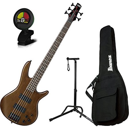 Ibanez Montage (Ibanez GSR205BWNF 5 String Walunt Flat Finish Electric Bass with Gig Bag, Stand, and Tuner)