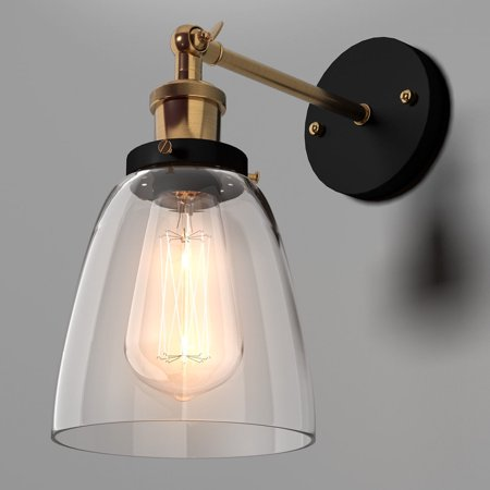 Costway Industrial Edison Vintage Simplicity Glass Wall Sconce Light Lamp Metal Base