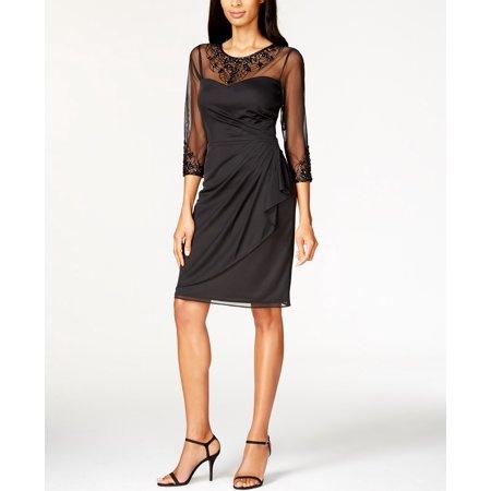 Patra NEW Black Women\'s Size 22W Plus Matte-Chiffon Sheath Dress