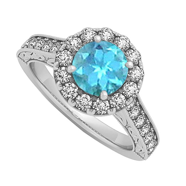 Fine Jewelry Vault UBUNR50656W14CZBT Blue Topaz Halo Engagement Ring With CZ in 14K White Gold - 1.50 CT TGW , 28 Stones