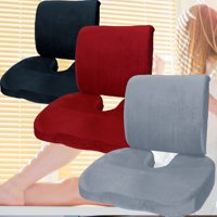 2 piece Memory Foam pillow set orthopedic pain relief seat and back support chair office home travel car cushions Helps Sciatica