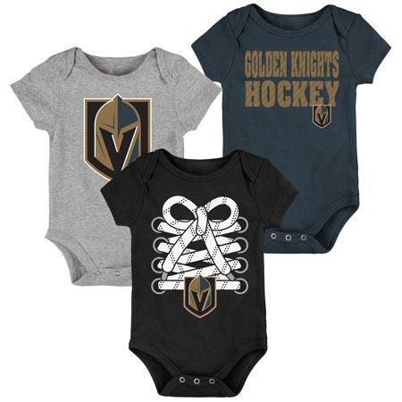 Vegas Golden Knights Newborn   Infant Hockey Baby 3-Pack Bodysuit Set -  Black Gray Charcoal - Walmart.com 475b38822
