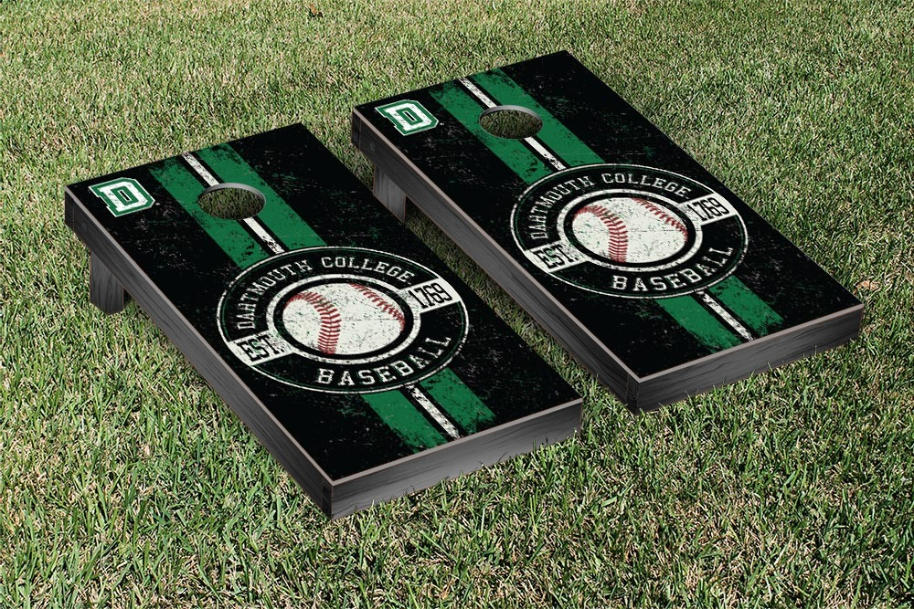 Dartmouth Big Green Regulation Cornhole Game Set Baseball Vintage Version by Victory Tailgate