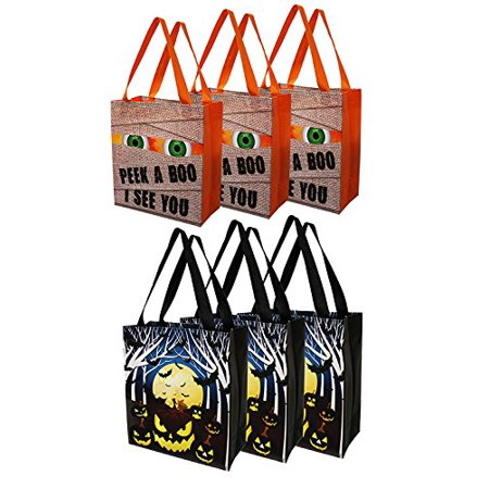 Earthwise Halloween Trick or Treat Bags Reusable Shopping Totes Goodie Bags Party Favor (6 Pack) Kids and parents alike will love these durable, reusable Halloween Trick or Treat Bags. With 2 cute  designs to choose from theres something for everyone. With plenty of room for candy, treats, toys or any other goodies these bags are the perfect size for Trick or Treating.Made form durable laminated material, these bags will last long past Halloween and can be used again and again.
