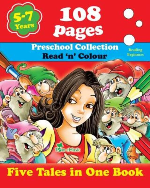 Five Tales in One Book: Read 'n' Color Your Fairy Tale Preschool Collection Coloring... by