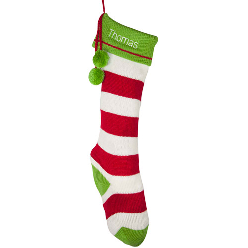 Personalized Striped Christmas Stocking with Pom Poms, Available in Red or Green