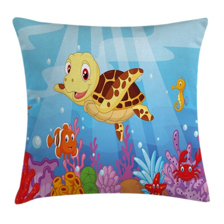 Turtle Throw Pillow Cushion Cover, Funny Adorable Cartoon Style Underwater Sea Animals Baby Turtle and Fish Collection, Decorative Square Accent Pillow Case, 18 X 18 Inches, Multicolor, by Ambesonne