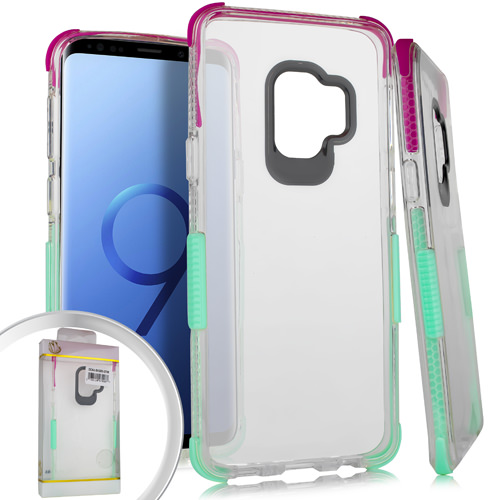 MUNDAZE Pink Teal Candy Acrylic Clear Case For Samsung Galaxy S9 Phone