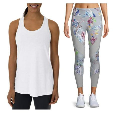 Back Seam Legging (Womens Active Printed Legging and Racerback Tank Top Set)
