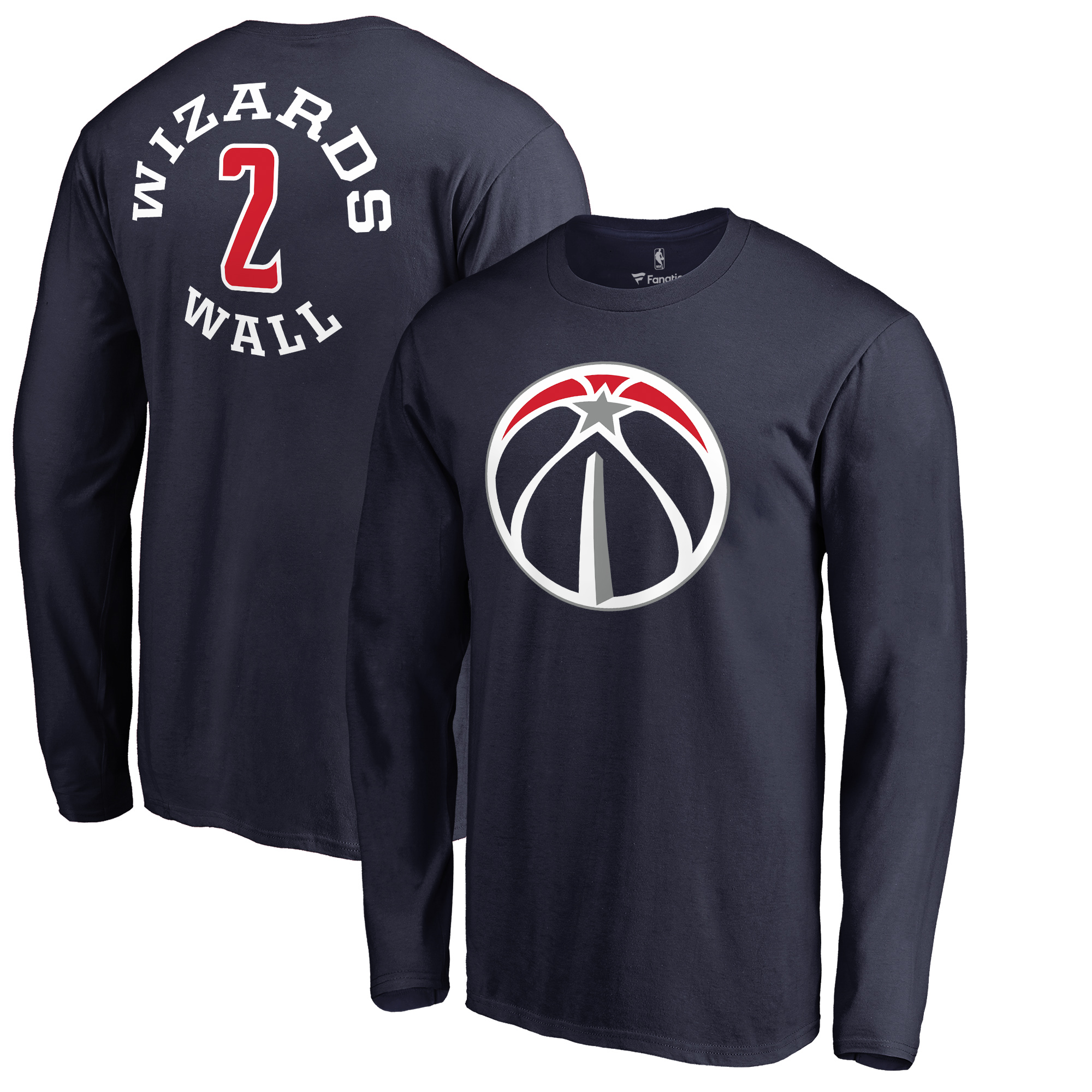 John Wall Washington Wizards Fanatics Branded Round About Name & Number Long Sleeve T-Shirt - Navy