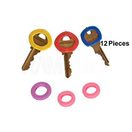 RAM-PRO 12PC Color Coded Key Identifier Rings Plastic Tags - Key Sleeves Rings in 6 Different Colors…