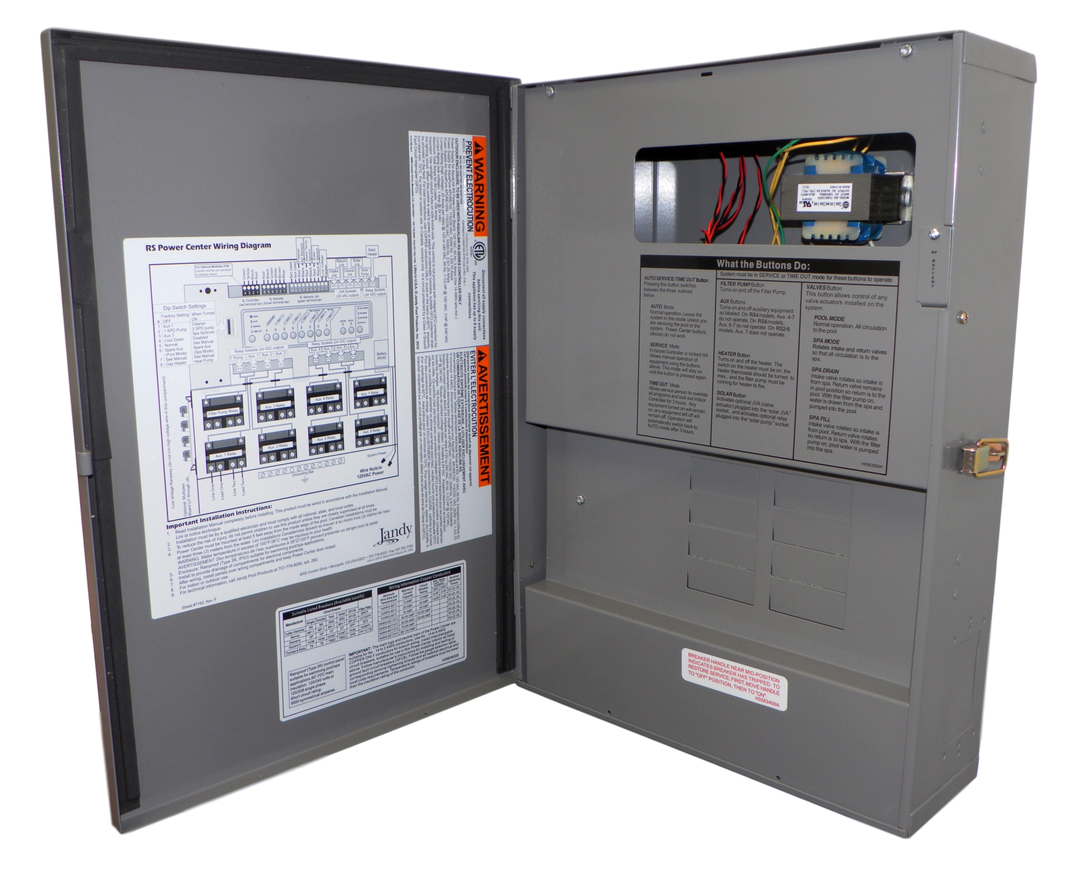 jandy aqualink rs 6614 power center sub panel enclosure w breakers, gray Service Wiring Diagram