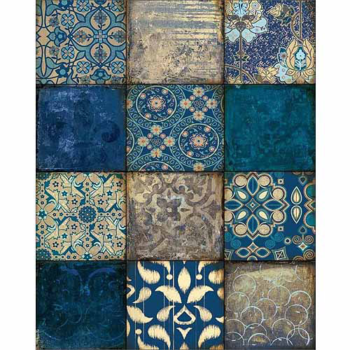 12 Panel Abstract Textured Pattern Squares Blue Canvas Art by Pied Piper Creative