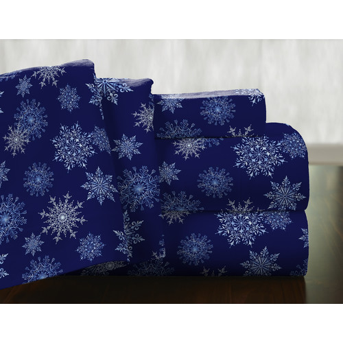 Pointehaven Snow Flakes 100pct Cotton Flannel Sheet Set