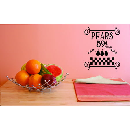 Custom Decals Pears 59 Cents Pounds Wall Art Size 10 Inches x 20 Inche