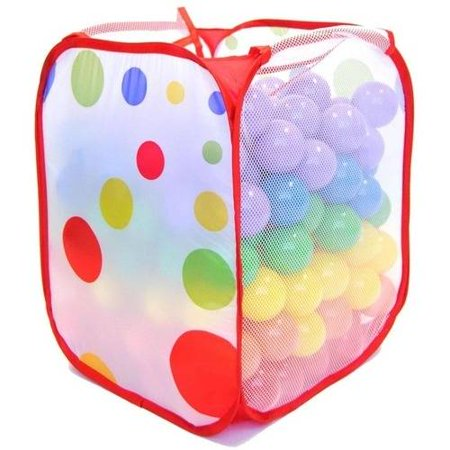 200 Play Balls Non-Toxic Non-Recycled Phlathlate- and BPA-Free Pit Balls for Kids with Polka Dot Hamper, Red, Orange, Yellow, Green, Blue and Purple, 6.5 cm