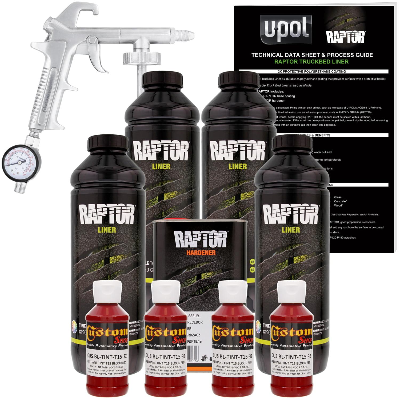 U-POL Raptor Blood Red Urethane Spray-On Truck Bed Liner Kit w/ FREE Custom Coat Spray Gun with Regulator, 4 Liters