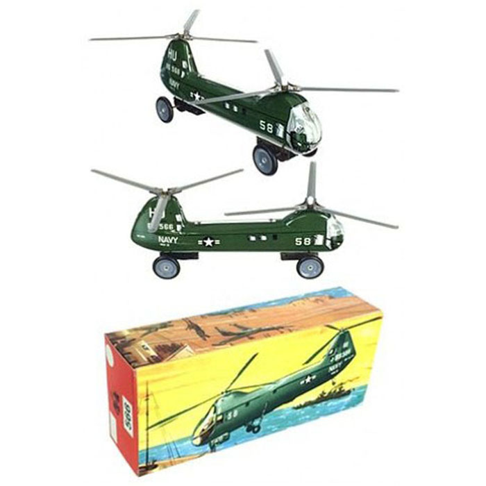 Navy Helicopter Vintage Original 1958 B&S Germany by Tin Toy Arcade