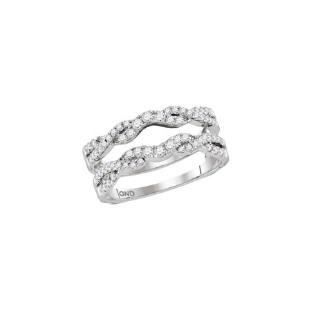 14kt White Gold His & Hers Round Diamond Ring Guard Wrap Solitaire Enhancer 1/2 Cttw ()