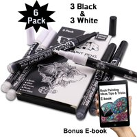 PINTAR Premium Acrylic Paint Pens - 3 Black & 3 White(6-Pack) Extra Fine Tip(0.7) Rock Painting, Ceramic Glass, Wood, Paper, Fabric, Water Resistant Paint Set, Surface Pen, Craft Supplies, DIY Project