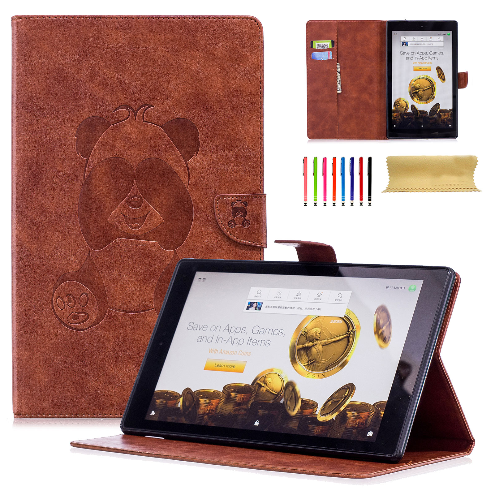 Fire HD 10 2017 7th Generation Case, Fire HD 10 2015 5th Generation Cover, Goodest [Panda Series] Ultra Thin PU Leather Flip Stand Case with Auto Wake/ Sleep for Amazon Fire HD 10 Tablet, Brown