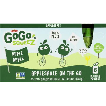 (24 Pouches) GoGo SqueeZ Applesauce, 3.2 oz