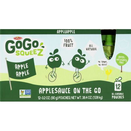 (2 Pack) GoGo squeeZ Applesauce On The Go, 3.2 oz, 12 ct