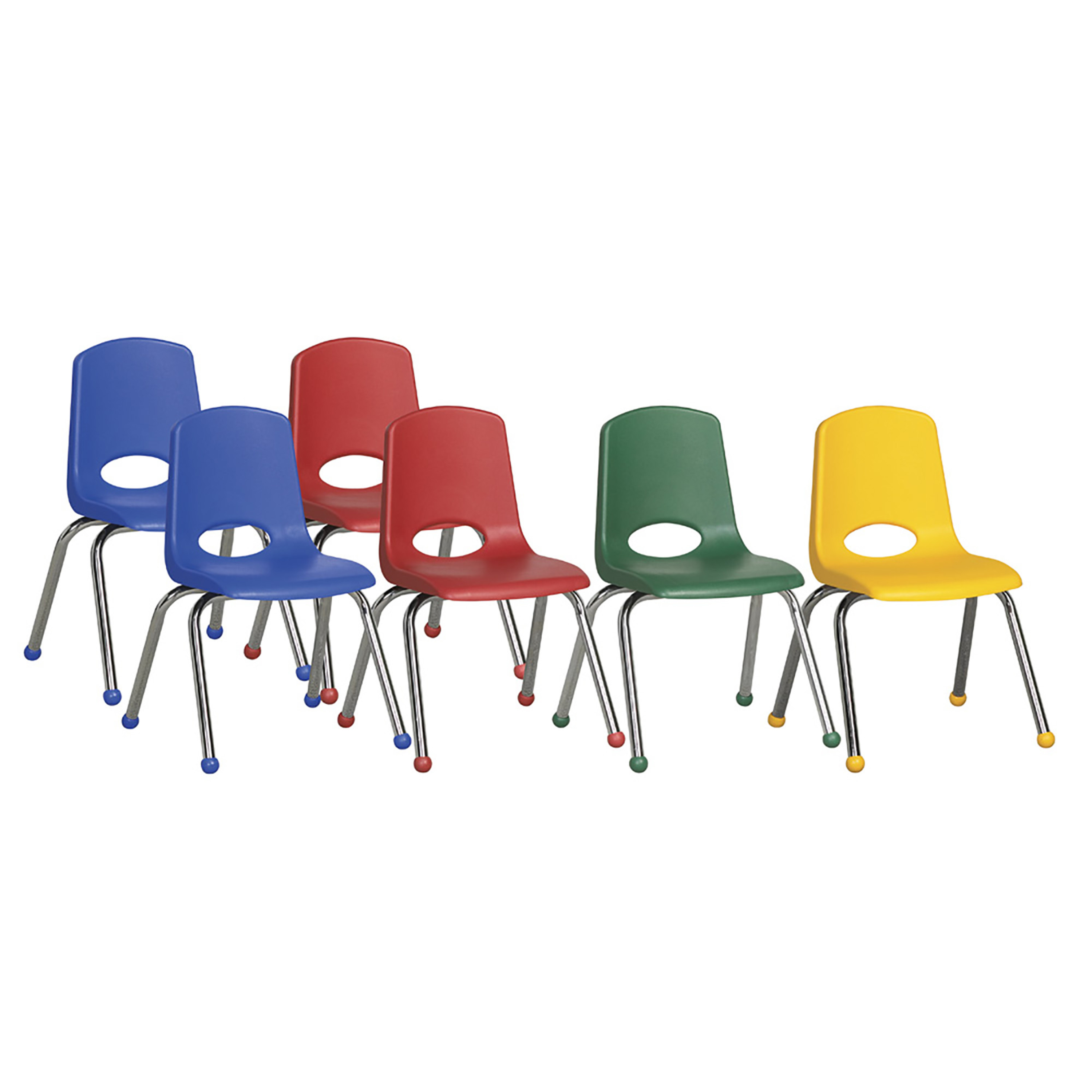 "ECR4Kids 6pk 16"" Stack Chair Chrome Legs Ball Glide, Assorted Colors"
