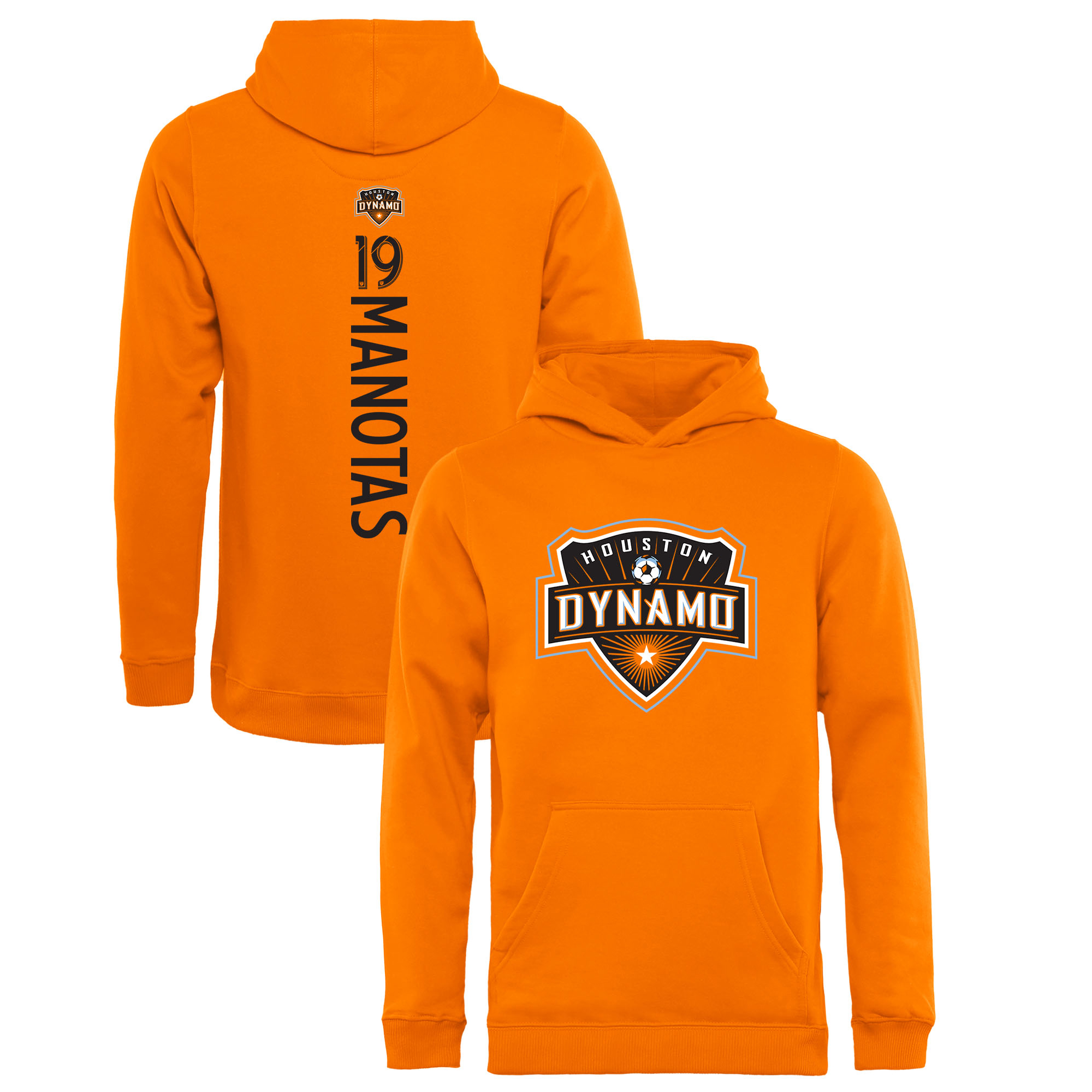 Mauro Manotas Houston Dynamo Fanatics Branded Youth Backer Name & Number Pullover Hoodie - Orange