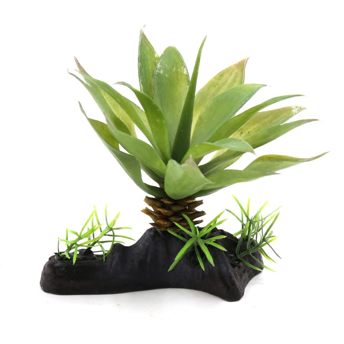 Green Plastic Fish Tank Terrarium Leaves Plant Ornament for Reptiles Animals by Unique-Bargains