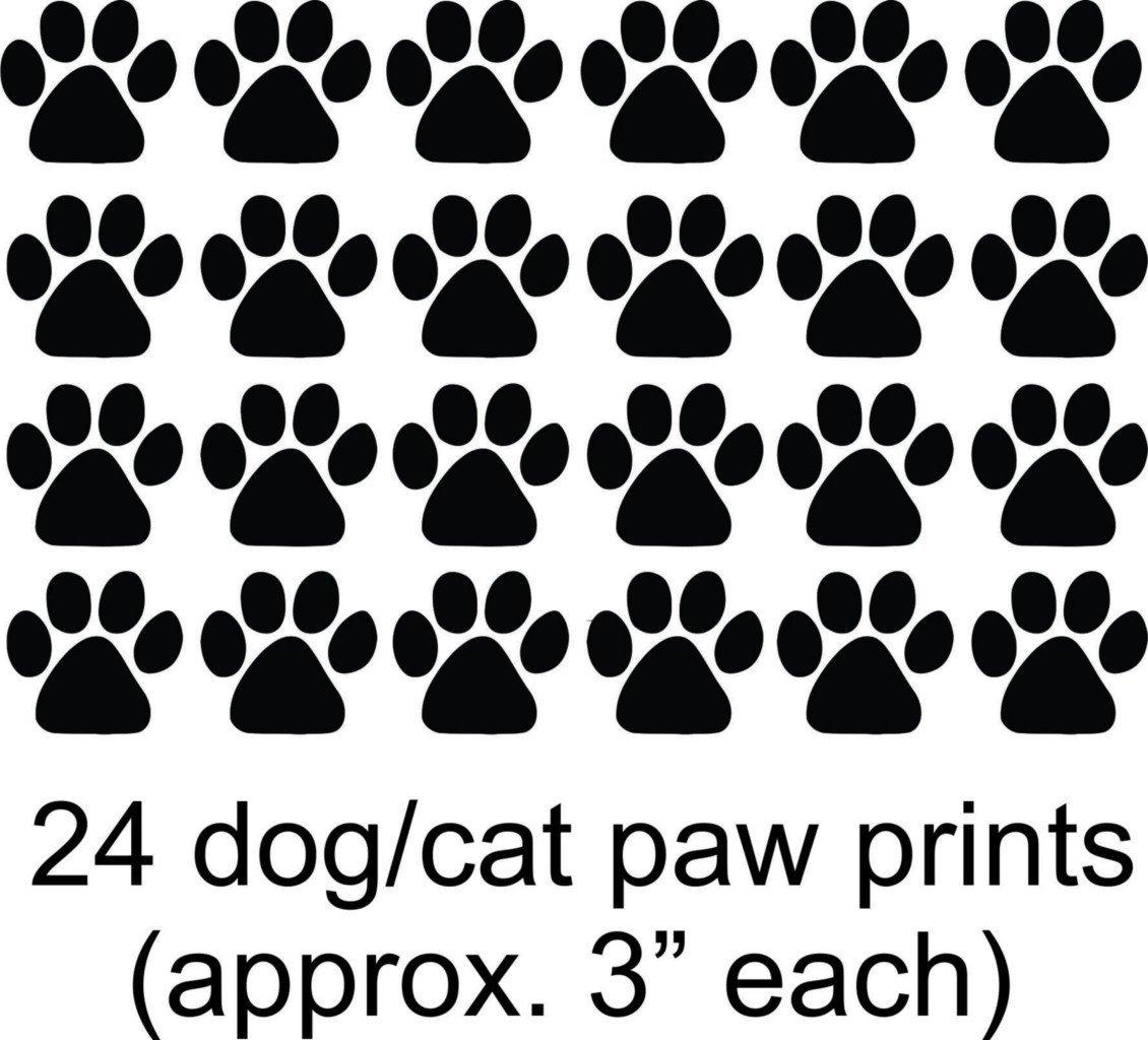 "Cat - Dog - 24 Animal Paw Prints -COLOR=AS Seen -=20""x24"" - Picture Art - Peel & Stick Vinyl Wall Decal Sticker"