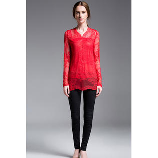 Women Lace Decorated Beautiful Valentine Day Blouse Red