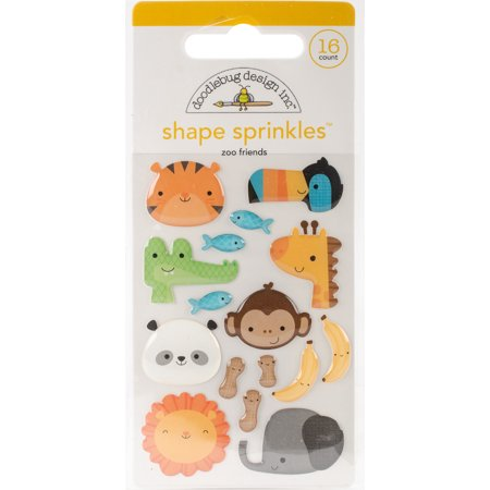 Doodlebug Sprinkles Adhesive Glossy Enamel Shapes   At The Zoo Friends