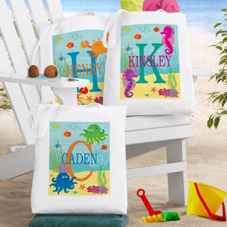 Personalized My Own Beachy Name Tote Bag-Crab-Available in 3 - Personalized Tote