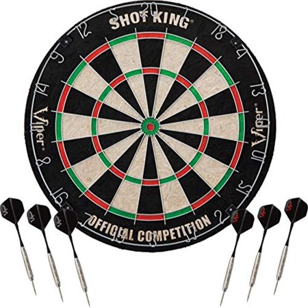 Viper Shot King Regulation Bristle Steel Tip Dartboard Set with Staple-Free Bullseye, Metal Radial Spider Wire, High-Grade Compressed Sisal Board with Rotating Number Ring, Includes 6 Steel Tip