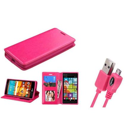 Insten Flip Leather Wallet Case With Stand Photo Display For Lg Magna Volt 2   Hot Pink   Micro Usb Data Charging Cable