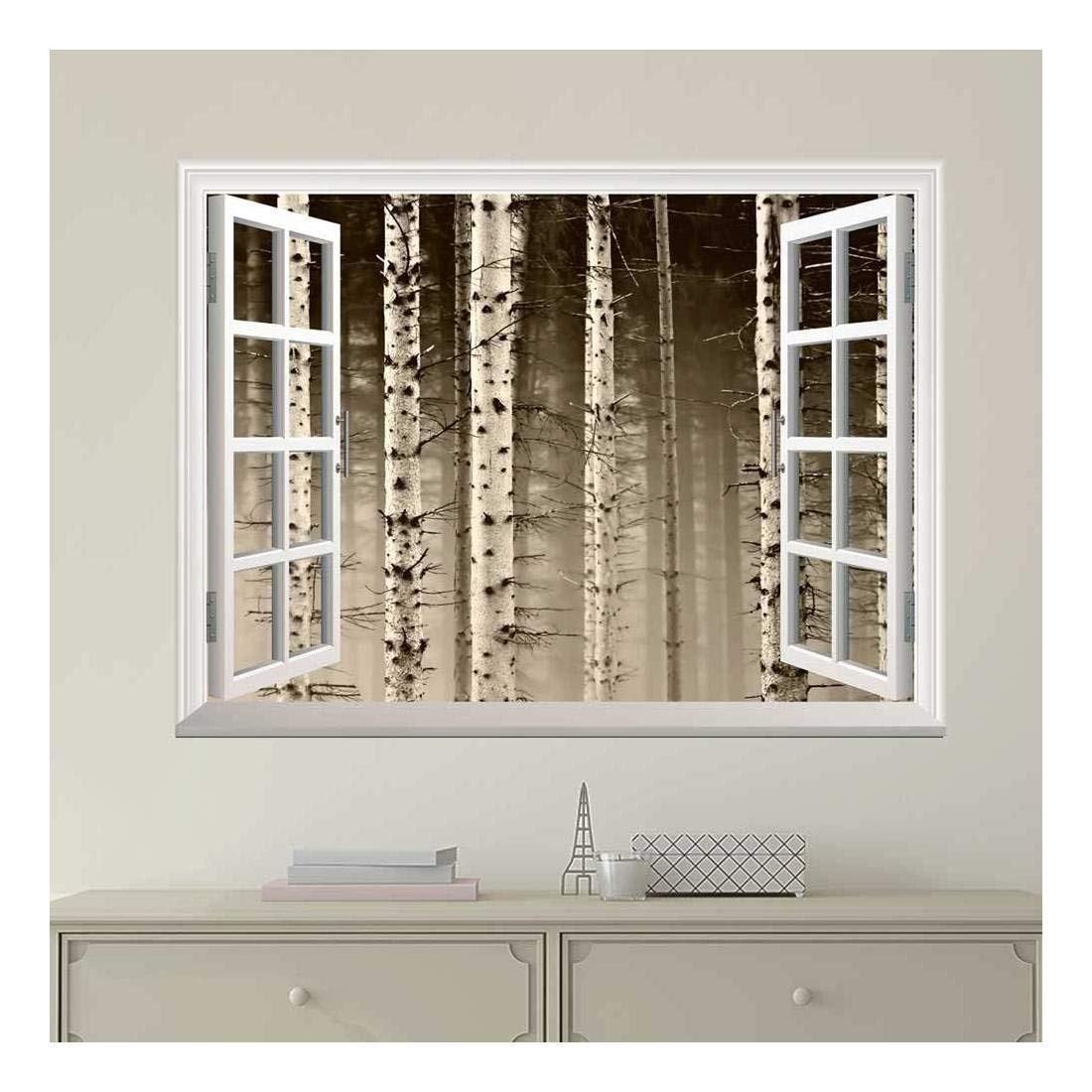 wall26 - Modern White Window Looking Out Into a Foggy Sepia Forest - Wall Mural, Removable Sticker, Home Decor - 36x48 inches