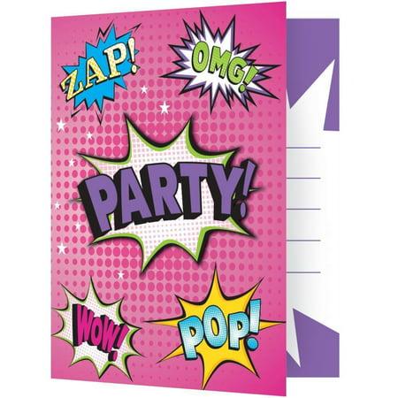 Girl Superhero Invitation Foldover W/ Attachment, 8 ct](Superhero Invitations)