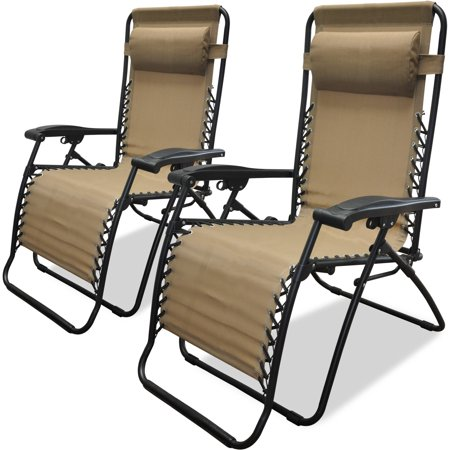 Best Choice Products Set Of 2 Adjustable Zero Gravity Lounge Chair Recliners For Patio Pool W Cup Holders Beige Brickseek