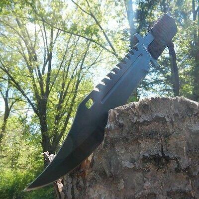 """13"""" TACTICAL SURVIVAL Rambo Full Tang FIXED BLADE KNIFE Hunting w/ SHEATH thumbnail"""