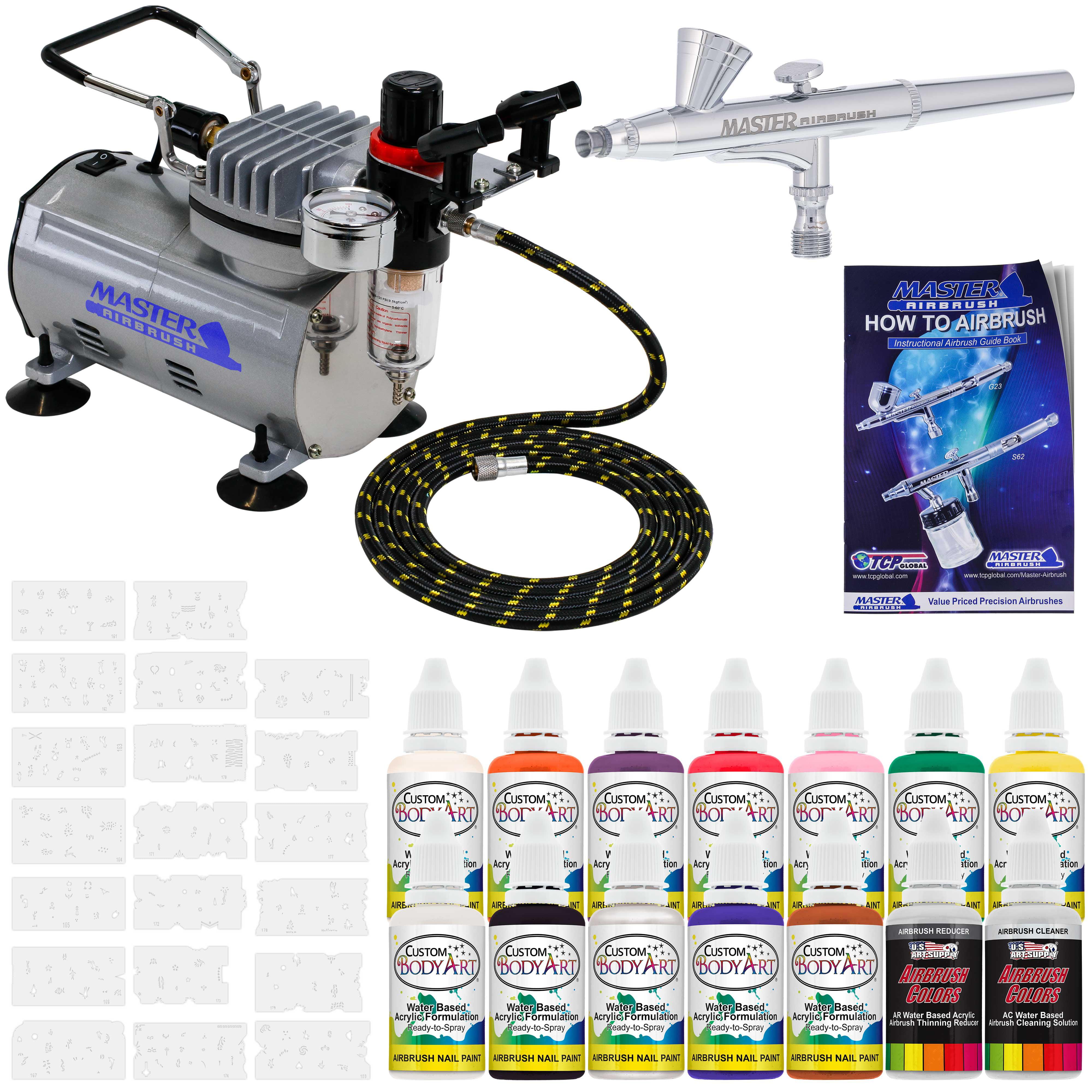 nail art airbrush kit set air compressor paint 20pk stencil design dual action walmart com walmart com