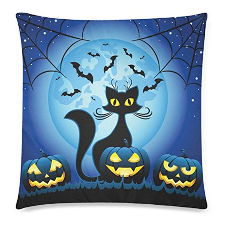 Halloween Night Moon (ZKGK Halloween Funny Cat Home Decor Halloween Pumpkins against Full Moon at Night Pillowcase Cushion 18 x 18 Inches,Blue Soft Pillow Cover Case Shams)