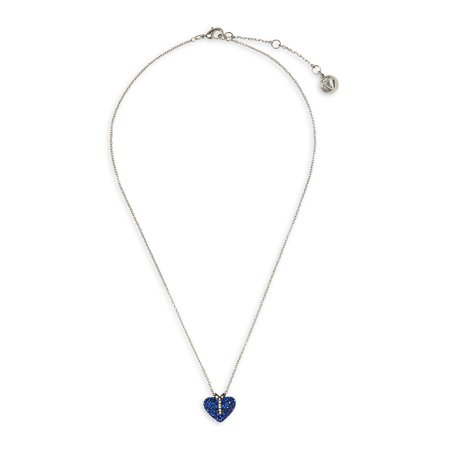 Two-Tone & Sapphire & Clear Crystal Heart Pendant Necklace in Gift Box Alabama Ladies Sapphire
