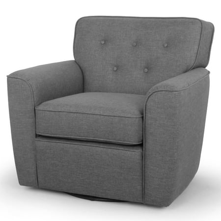 Baxton Studio Canberra Modern Retro Contemporary Gray Fabric Upholstered Button-Tufted Swivel Lounge Chair with Arms