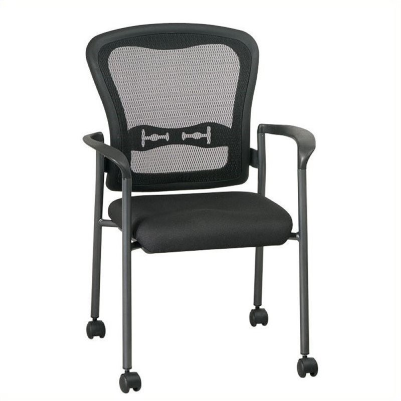 Scranton & Co Visitors Chair with Casters in Black and Titanium