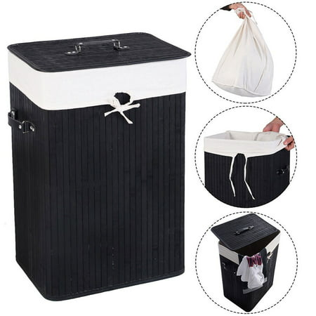Laundry Basket For Home Black Single Lattice Bamboo Slim