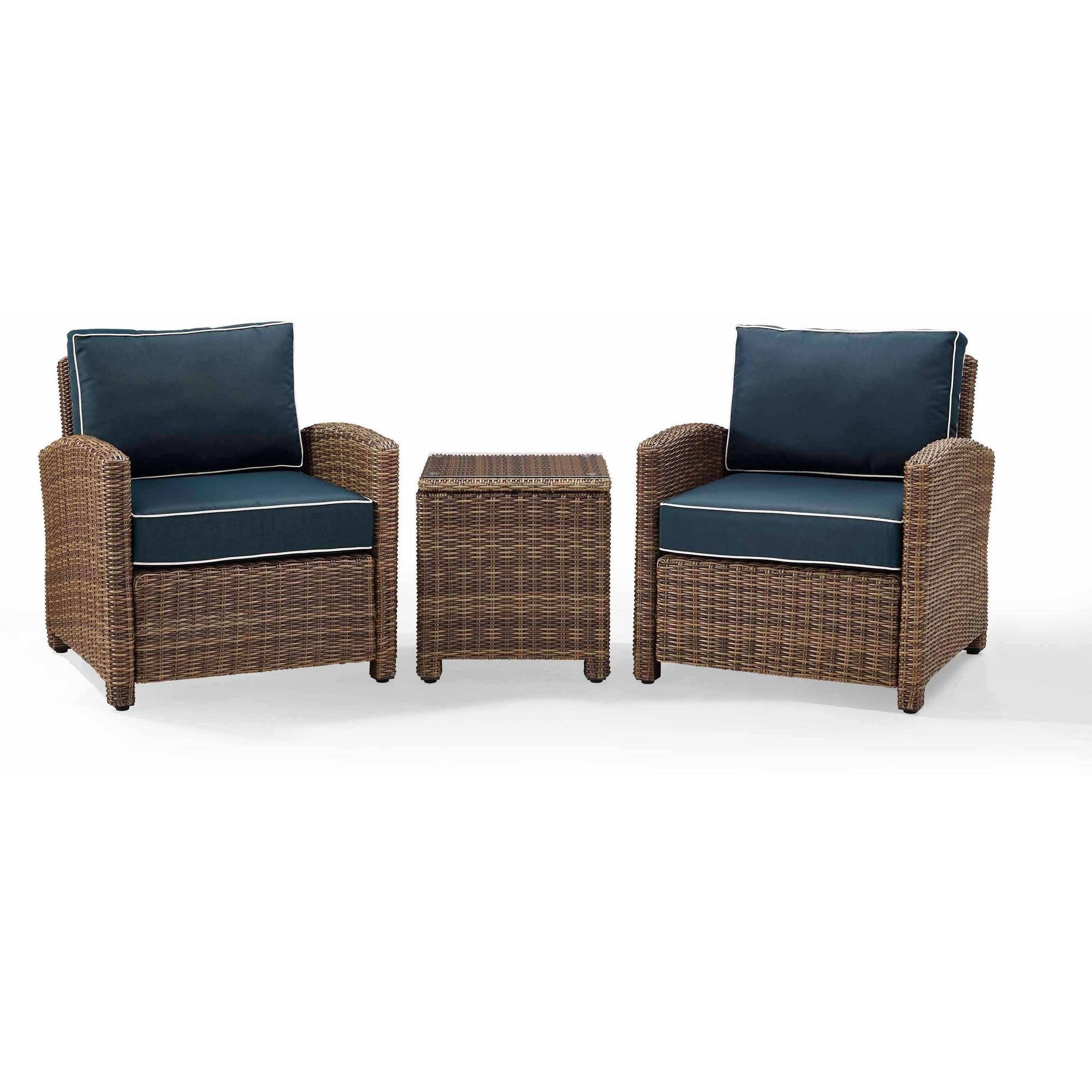 Crosley Furniture Bradenton 3 Piece Outdoor Wicker Conversation Set With  Navy Cushions   Two Arm